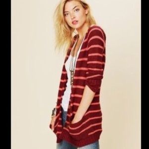 Free People Beach striped knit oversized cardigan